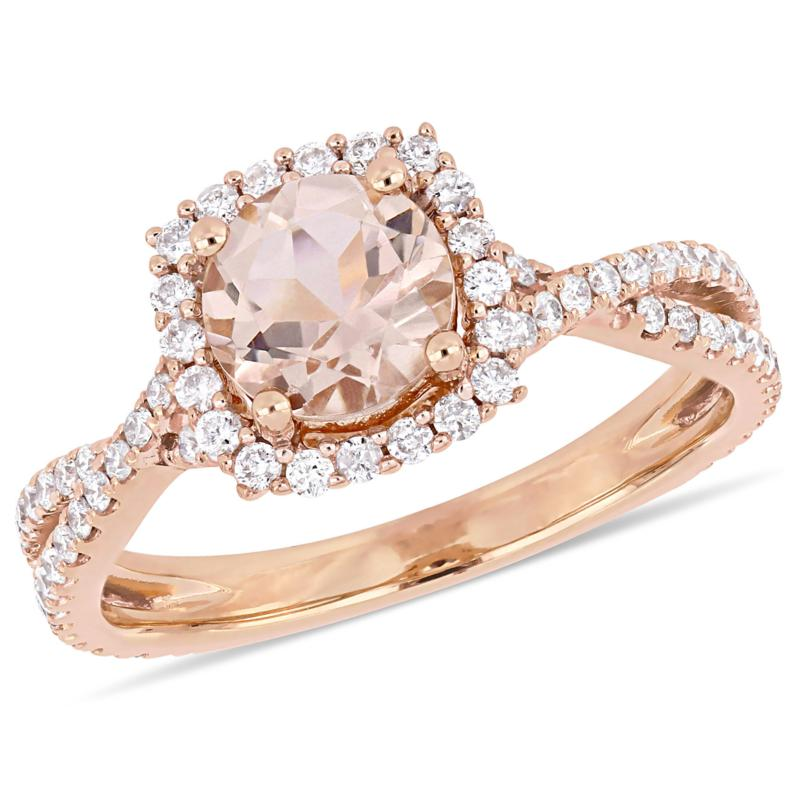 Bellini 14K Rose Gold Morganite and Diamond Halo Engagement Ring