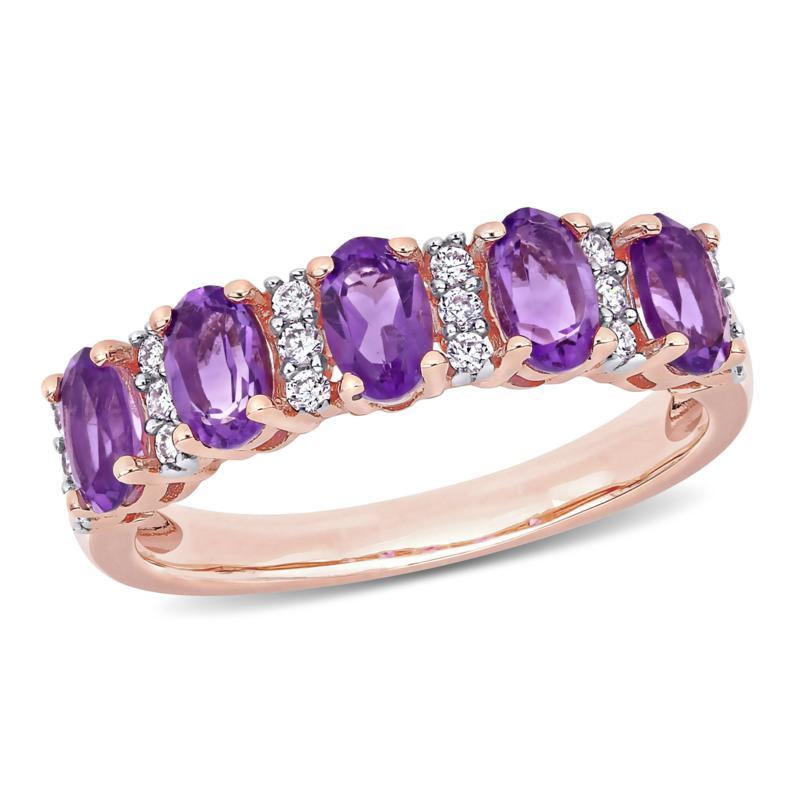 Bellini 14K Rose Gold Oval Amethyst and Diamond Semi-Eternity Ring