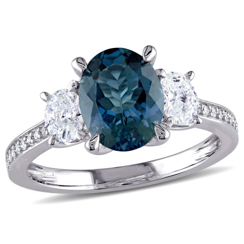 Bellini  14K White Gold London Blue Topaz and Diamond Three-Stone Ring