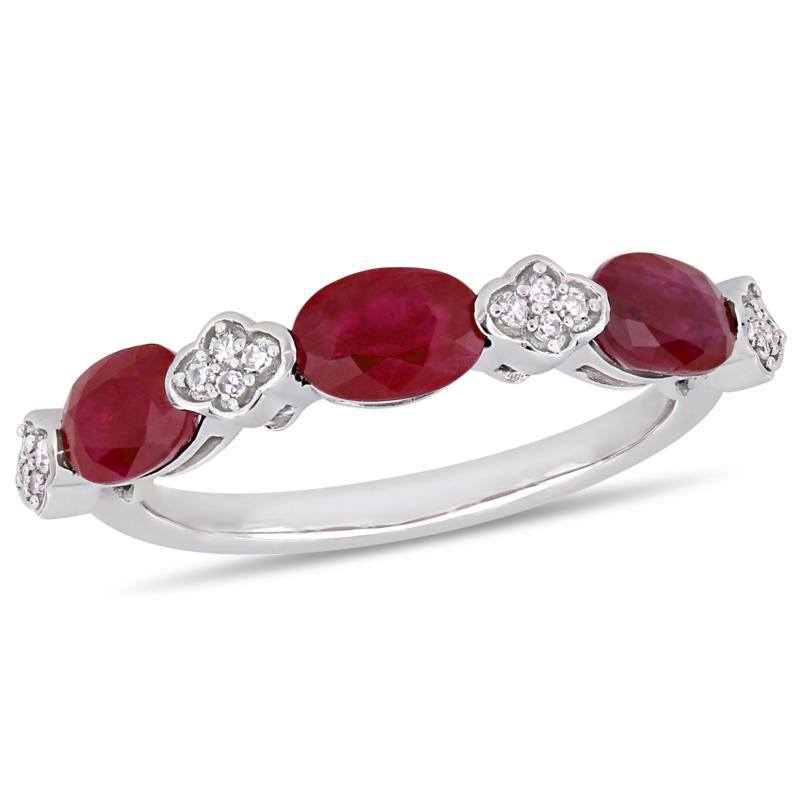 Bellini 14K White Gold Oval Ruby and Diamond Semi-Eternity Ring