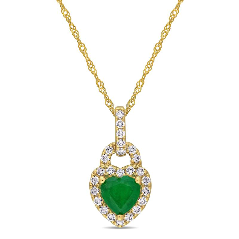 Bellini 14K Yellow Gold Diamond and Emerald Heart Pendant with Chain