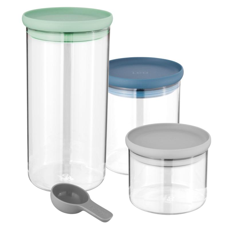 BergHOFF Leo 3pc Covered Glass Food Container Set and Spoon