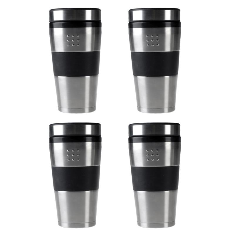 Berghoff Orion 4 Piece 16 Oz Stainless Steel Travel Mug Set 9223912 Hsn