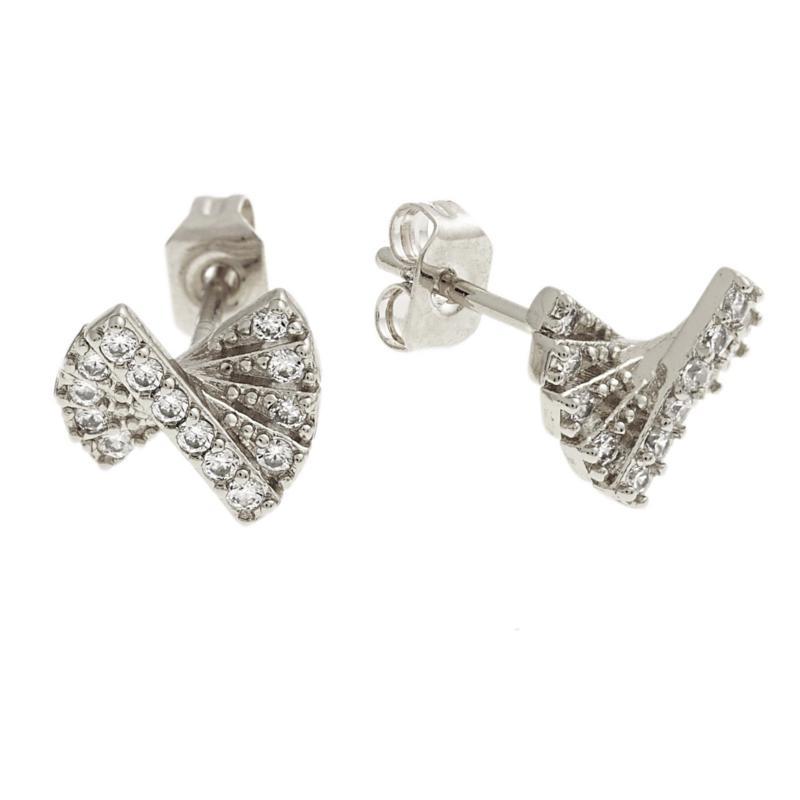 Bertha Sophia Collection CZ-Accent Fan-Shaped Stud Earrings