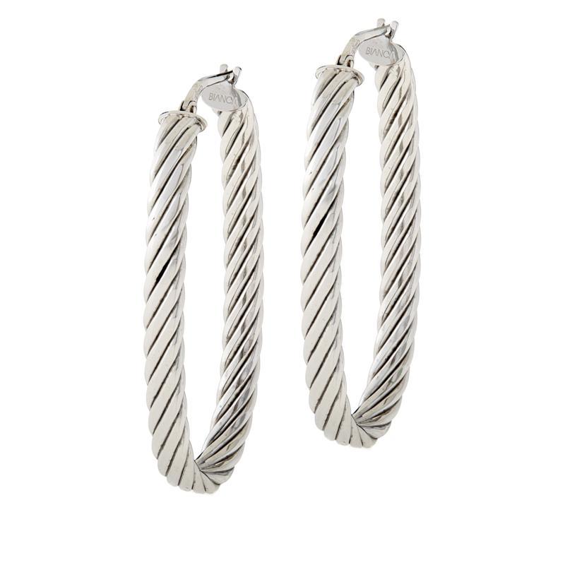 Bianca Milano Sterling Silver Ribbed Oval Hoop Earrings