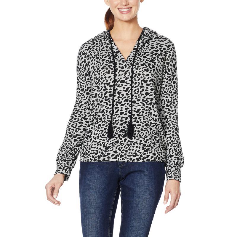 Billy T Animal-Print Pullover Hooded Long-Sleeve Sweatshirt