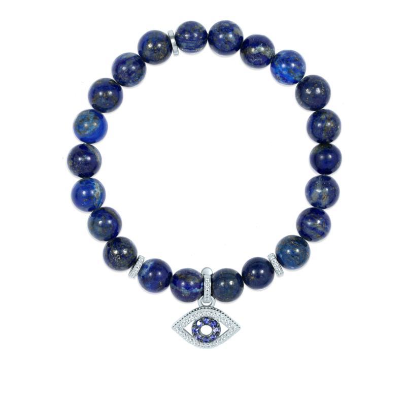 BlesT Sterling Silver Gemstone Bead Stretch Bracelet with Charm