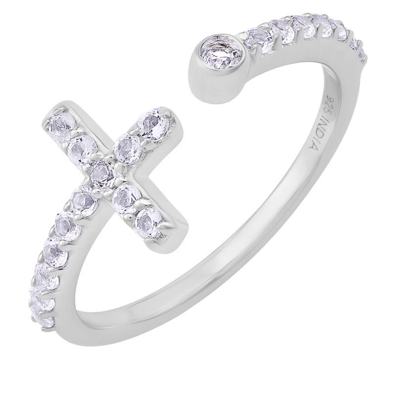 BlesT Sterling Silver White Topaz Open Shank Cross Ring