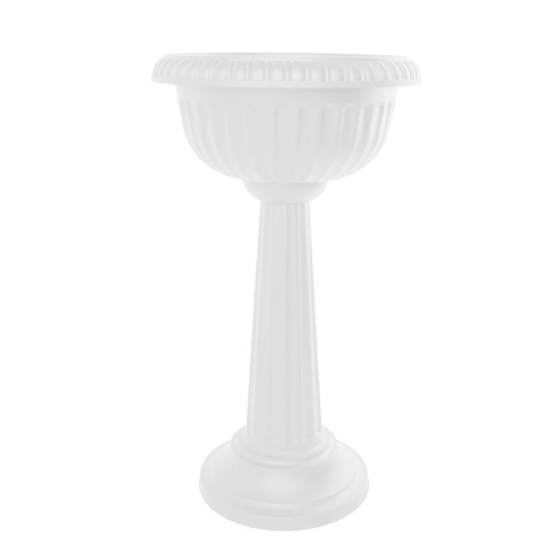 "Bloem Grecian Urn Tall Pedestal Planter 32"" - Casper White"