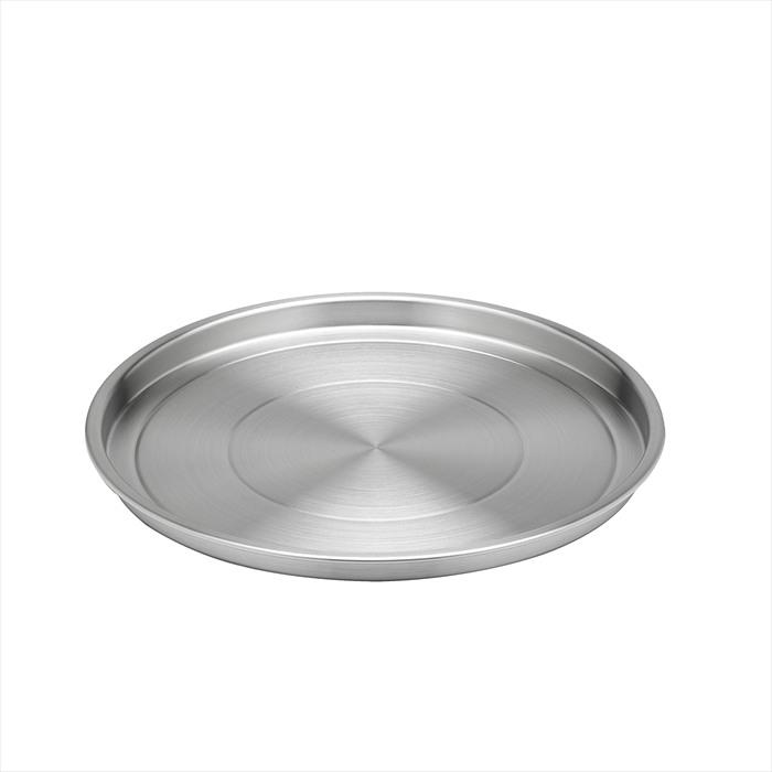 """Brushed Stainless Steel Round Serving Tray - 12"""""""