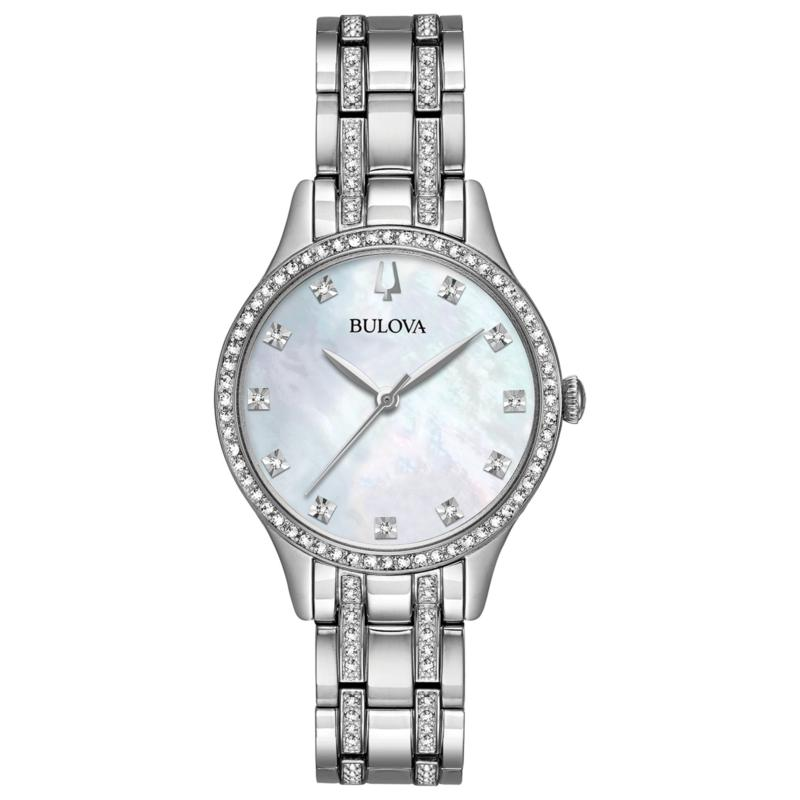 Bulova Crystal-Accented Silvertone Watch and 2-piece Bracelet Set