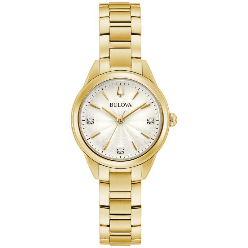 Bulova Goldtone Women's Diamond-Accented Bracelet Watch