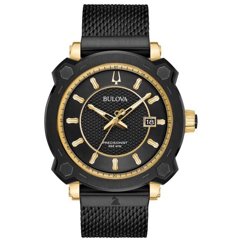 "Bulova Men's ""Precisionist"" GRAMMY® Diamond Black Mesh Watch"