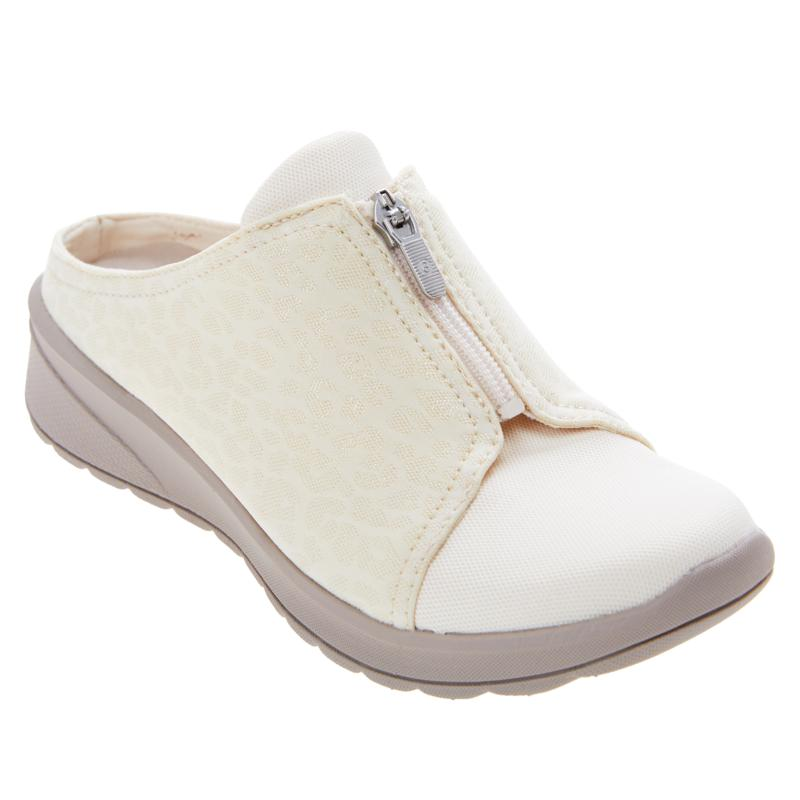 Bzees Glossy Washable Zip Front Slip-On Mule