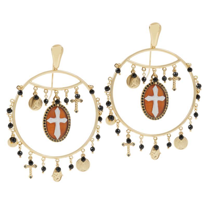 Cameo Italiano Hand Carved Cross Cameo and Gem Drop Earrings