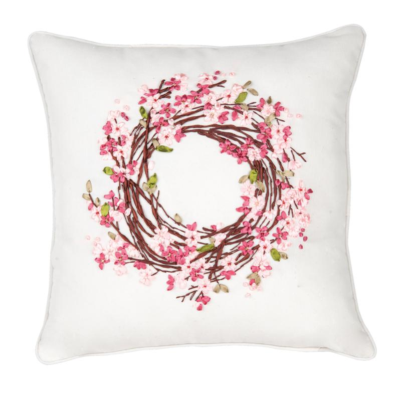 C&F Home Blossom Wreath Ribbon Art Pillow