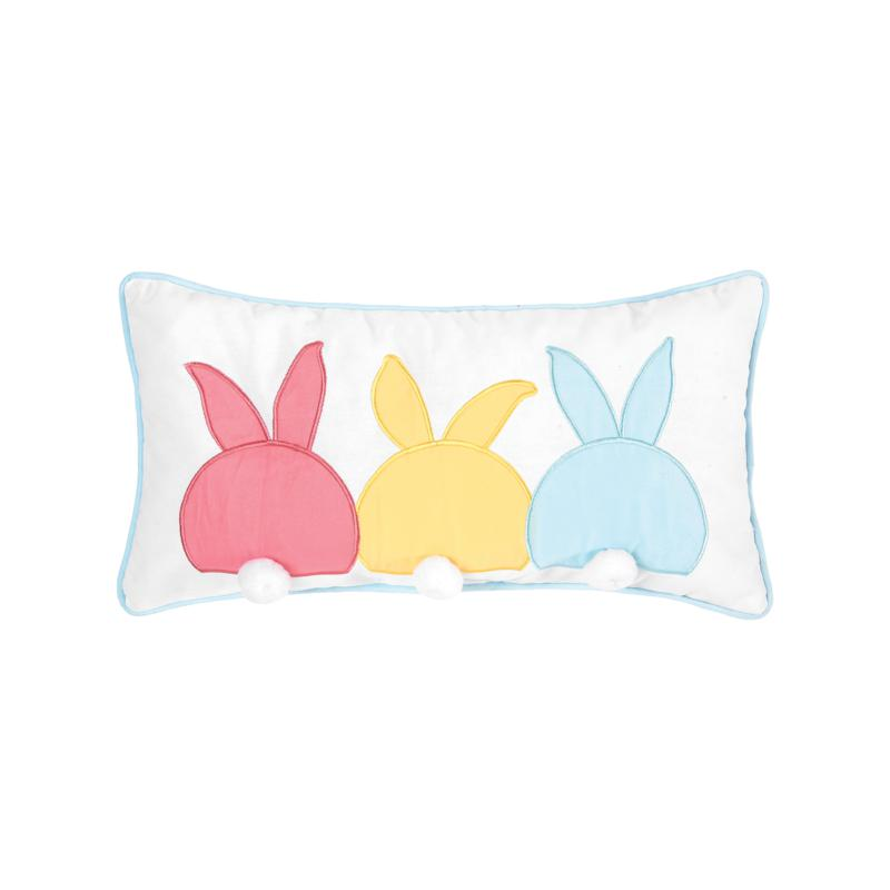 C&F Home Bunny Bum Pillow, Embroidered