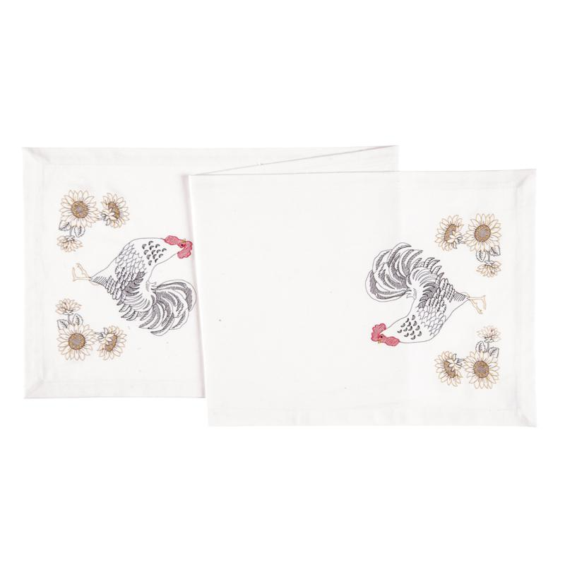 C&F Home Parisian Rooster Cotton Embroidered Table Runner