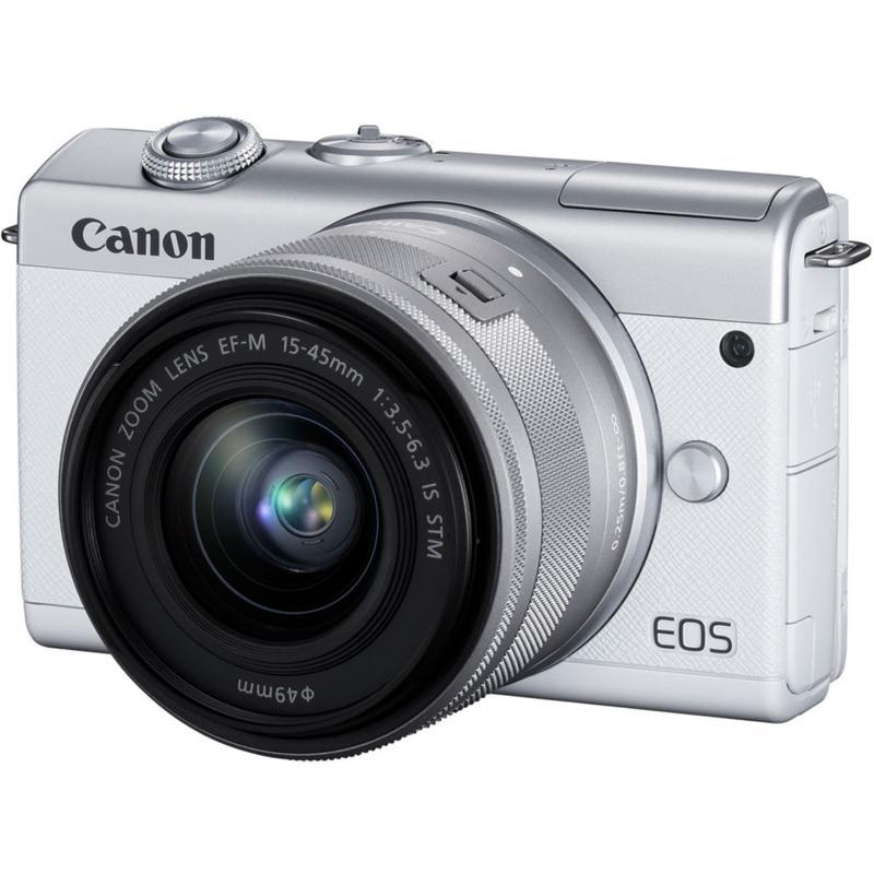 Canon EOS M200 White Mirrorless Digital Camera w/ 15-45mm lens