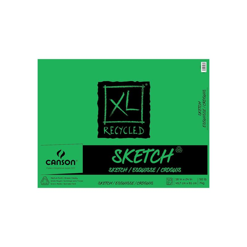 """CANSON XL Recycled Foldover Sketch Pad of 50 Sheets 18"""" x 24"""""""