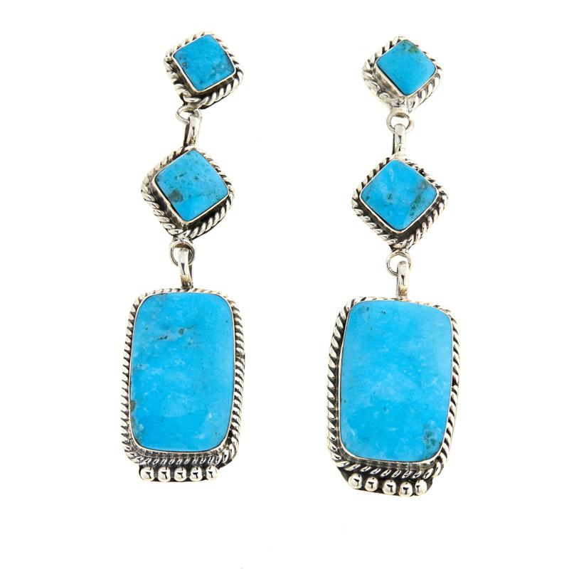 Chaco Canyon 3-Stone Turquoise Drop Sterling Silver Earrings