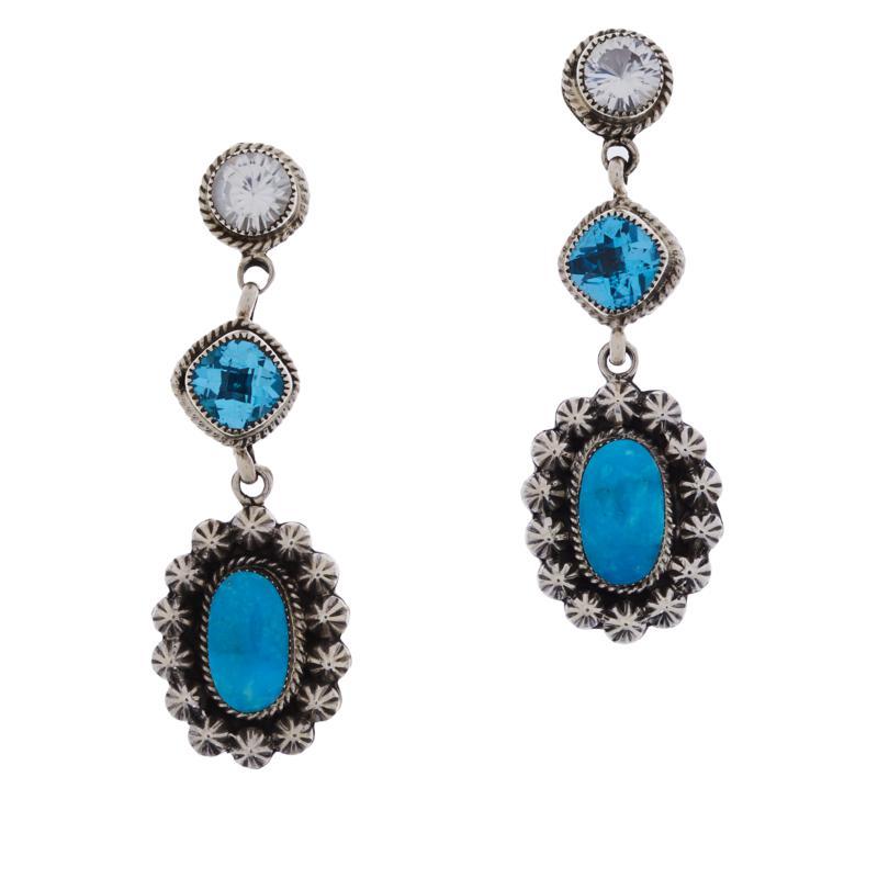 Chaco Canyon Kingman Turquoise and Multi-Gem Drop Earrings