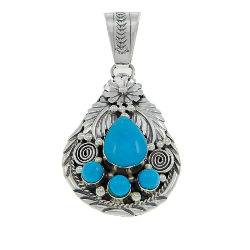 """Chaco Canyon Kingman Turquoise """"Leaf"""" Sterling Silver Pendant"""