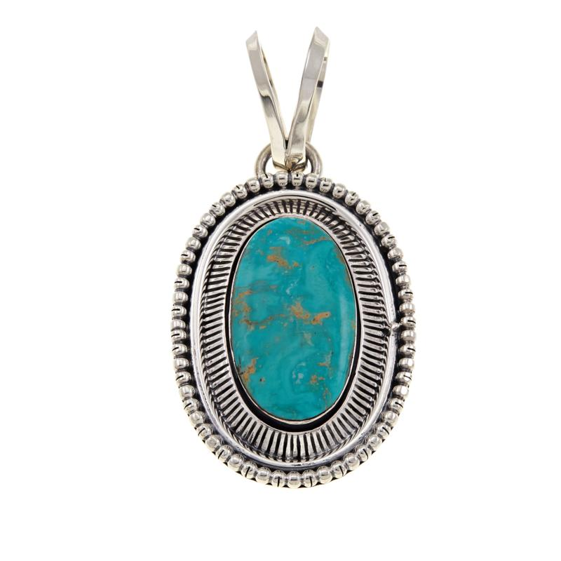 Chaco Canyon Oval Green Turquoise Sterling Silver Pendant