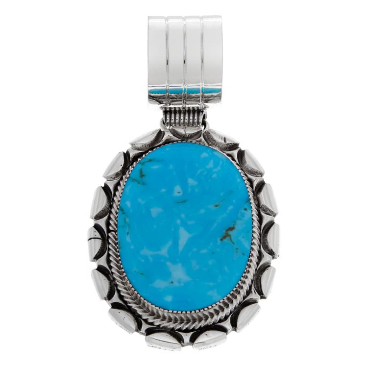 Chaco Canyon Oval Kingman Turquoise Framed Sterling Silver Pendant