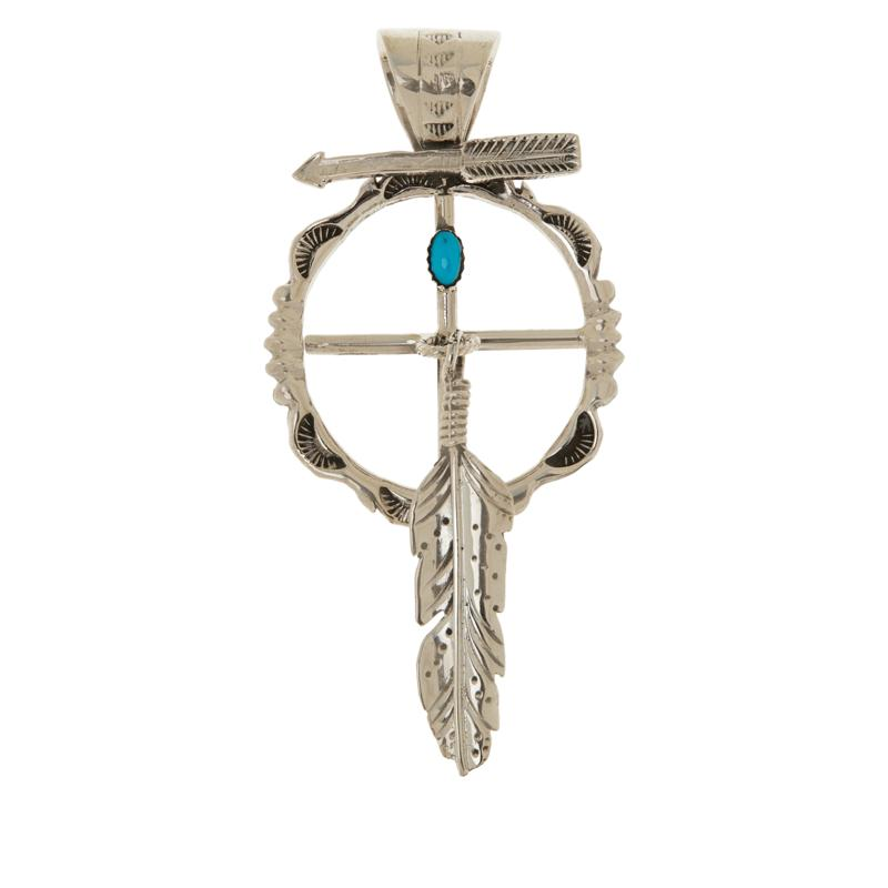 Chaco Canyon Sleeping Beauty Turquoise Shield and Feather Pendant