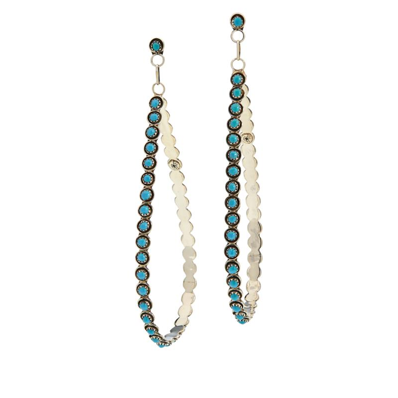 Chaco Canyon Sterling Silver Sleeping Beauty Turquoise Drop Earrings