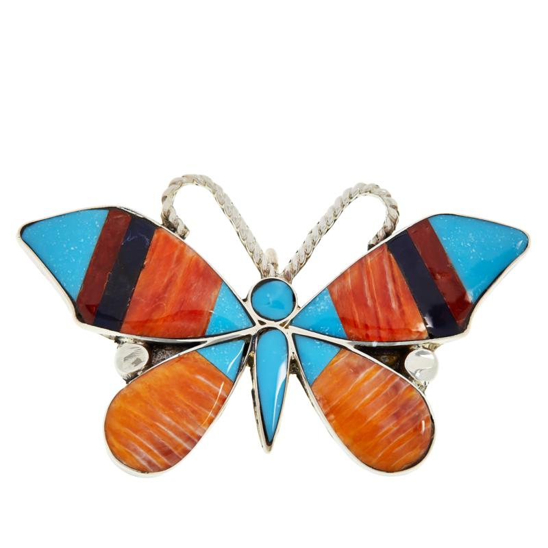 Chaco Canyon Zuni Multi-Gemstone Inlay Butterfly Pin/Pendant