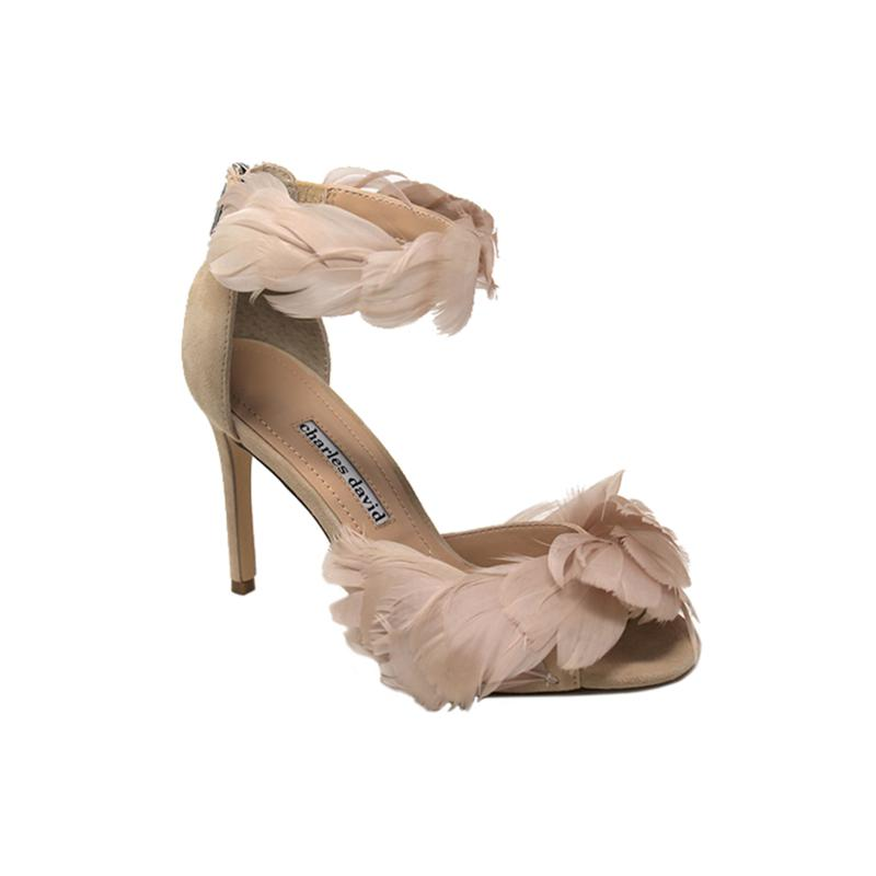Charles David Collector Feathered Suede High-Heeled Sandal