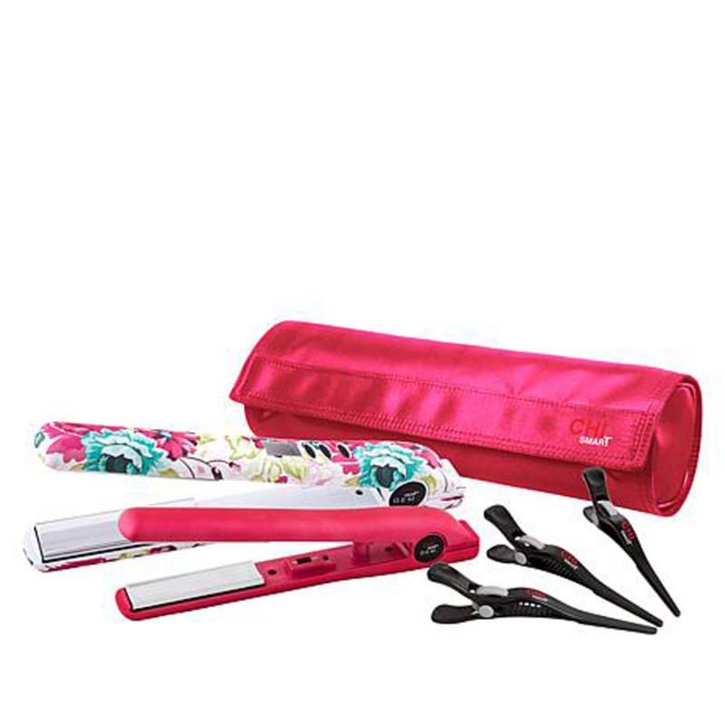 "CHI Floral Aqua Smart GEMZ 1"" Flat Iron & Travel Iron w/Clips and Bag"