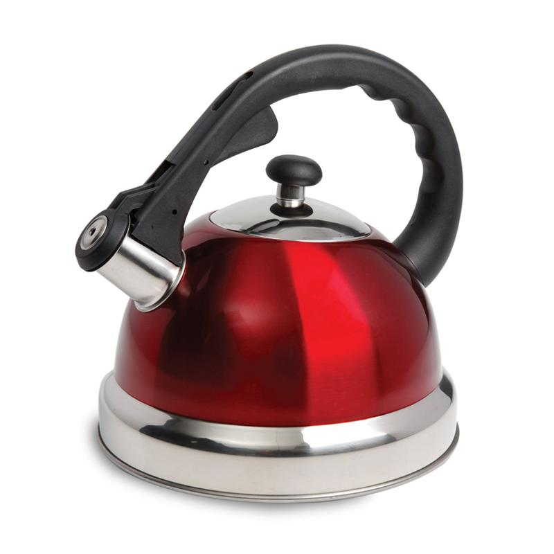 Claredale 1.7 Qt Whistling Tea Kettle with Nylon Handle (Red)