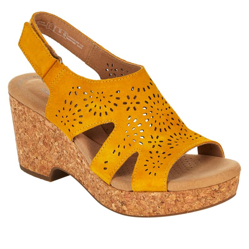Clarks Collection Giselle Bay Laser-Cut Suede Cork Wedge Sandal