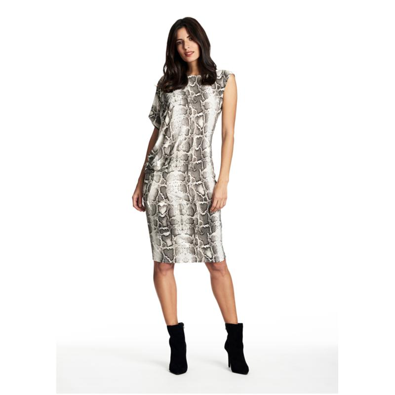 Coldesina Tracy Dress in White Pyhon