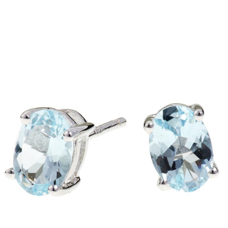 Colleen Lopez 1.25ctw Oval Aquamarine Stud Earrings