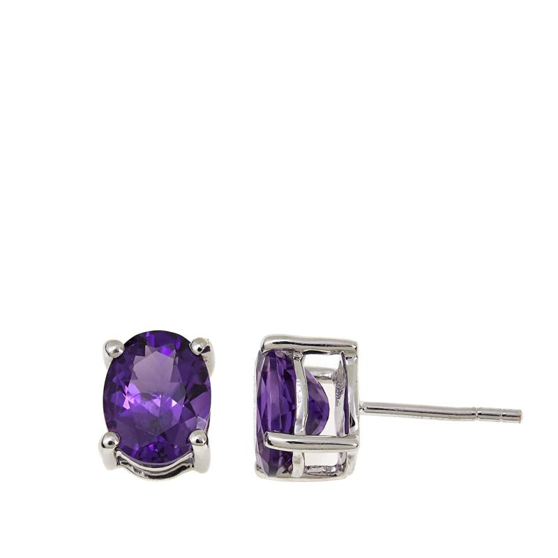 Colleen Lopez 3ctw Oval Amethyst Sterling Silver Stud Earrings