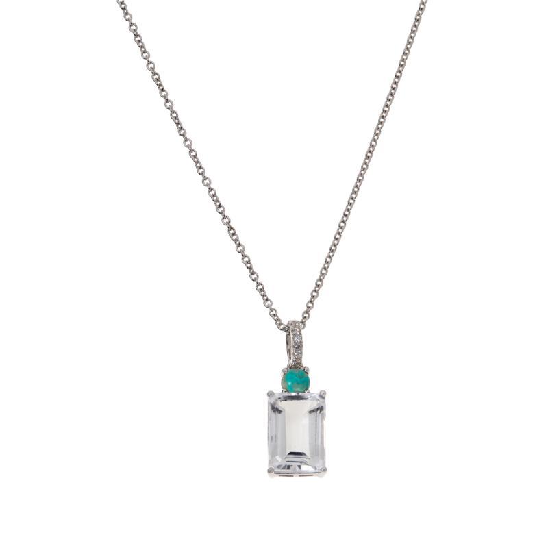Colleen Lopez Arkansas Quartz and Turquoise Pendant with Chain