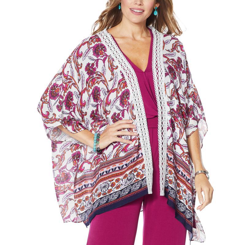 Colleen Lopez Crochet Inset Kimono Topper