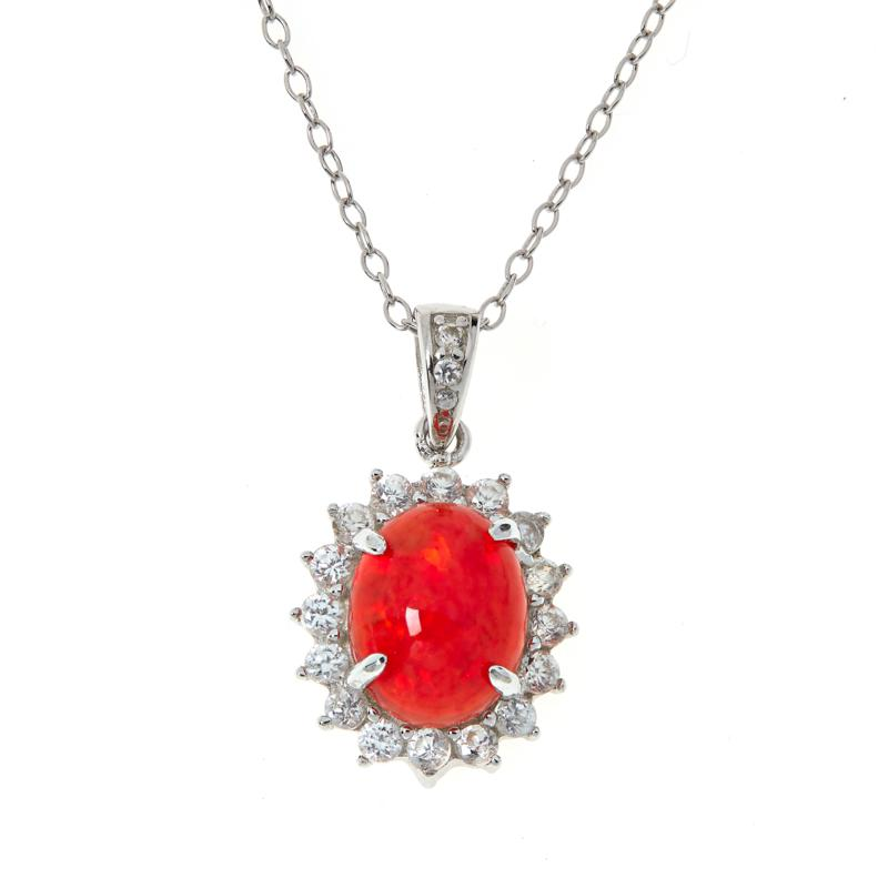 Colleen Lopez Fire Opal and White Zircon Pendant with Chain