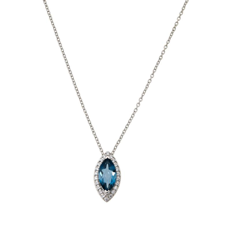 Colleen Lopez Marquise London Blue Topaz Convertible Pendant w/Chain