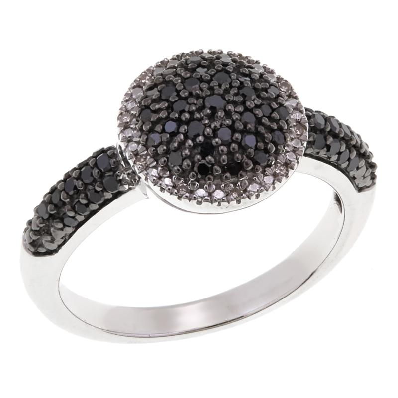 Colleen Lopez Sterling Silver 0.33ctw Black & White Pavé Diamond Ring