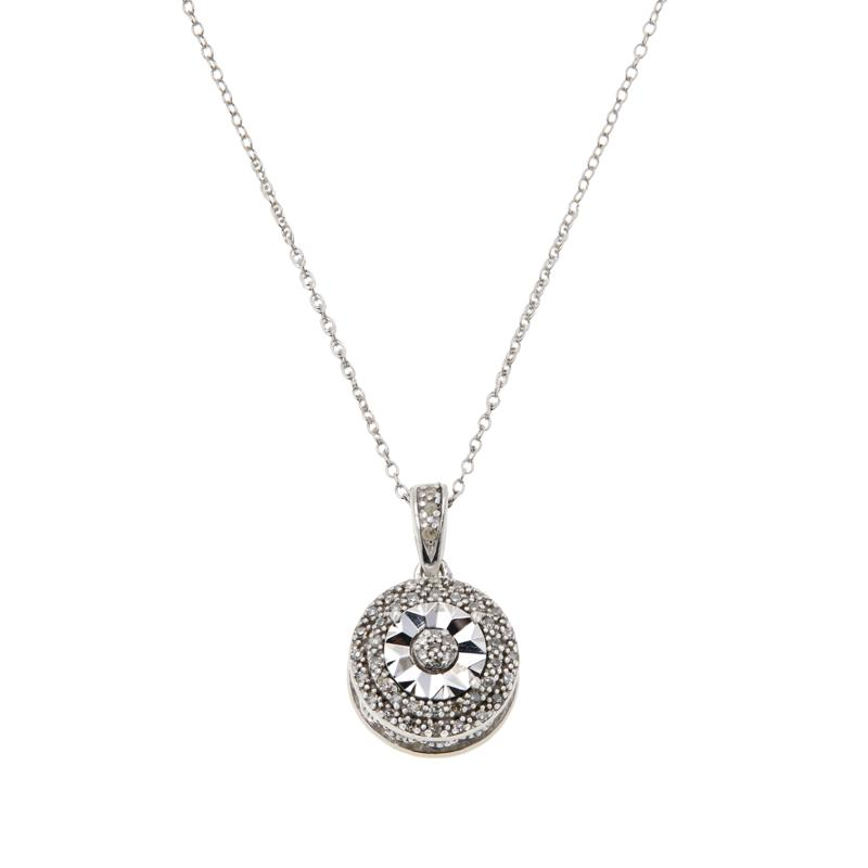 Colleen Lopez Sterling Silver .10ctw White Diamond Pendant with Chain