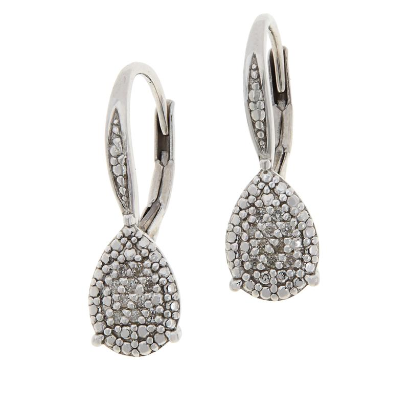Colleen Lopez Sterling Silver .12ctw Diamond Pear-Shaped Drop Earrings