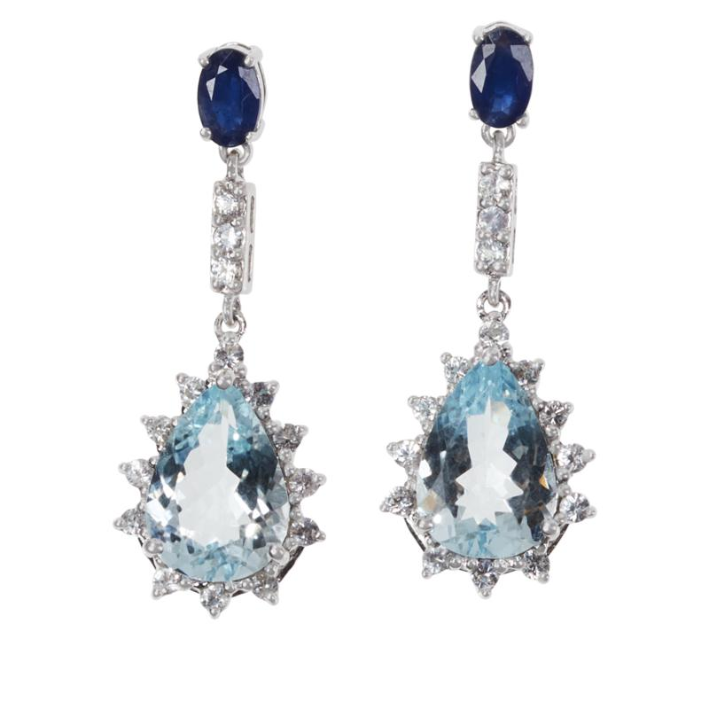 Colleen Lopez Sterling Silver Aquamarine and Sapphire Drop Earrings