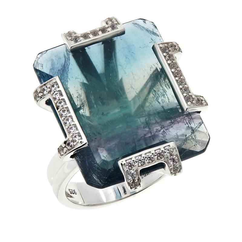Colleen Lopez Sterling Silver Bicolor Fluorite and White Zircon Ring