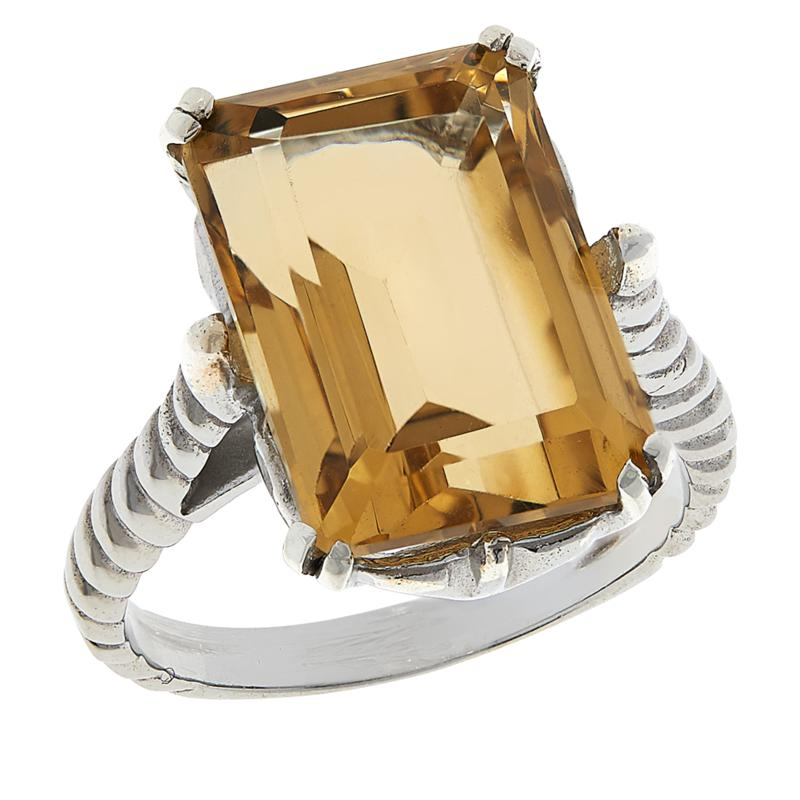 Colleen Lopez Sterling Silver Emerald-Cut Gemstone Ring