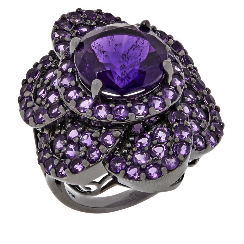 Colleen Lopez Sterling Silver Gemstone Flower Ring